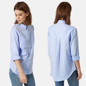 Topshop Button Front Chambray Cotton Shirt